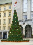 Christmas tree. Traditional Christmas fair at square in Ostrava, Czech Republic stock photography