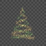 Christmas tree on transparent background. Gold Christmas tree as symbol of Happy New Year, Merry Christmas holiday. Celebration. Golden light decoration. Bright royalty free illustration