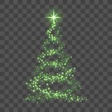 Christmas tree on transparent background. Green Christmas tree as symbol of Happy New Year, Merry Christmas holiday. Celebration. Light sparkle decoration Stock Photos