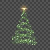 Christmas tree on transparent background. Green Christmas tree as symbol of Happy New Year, Merry Christmas holiday. Celebration. Light sparkle decoration vector illustration