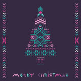 Christmas Tree - Tribal Vintage Aztec Theme. Hand drawn in vector Stock Photo