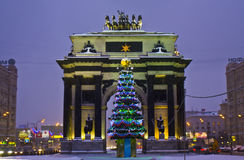 Christmas tree and Triumphal arch, Moscow Stock Photo