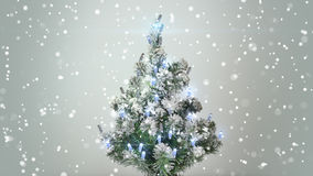 Christmas tree and turbulent snowfall. Holiday background Royalty Free Stock Photo
