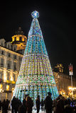 Christmas tree in Turin, Italy. Turin,Italy,Europe - December 9, 2016 : Christmas Tree in Piazza Castello royalty free stock photography