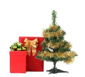 Christmas tree with two present boxes. Royalty Free Stock Photography