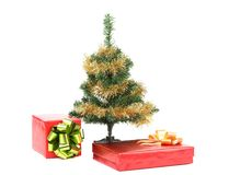 Christmas tree with two present boxes Stock Photo