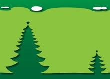 Christmas tree under the sky - green theme. Merry Christmas and Happy New Year - Christmas Trees under a dark starry night sky. Green theme stock illustration