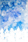 Christmas tree under snowflakes Stock Images