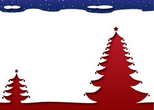 Christmas tree under a starry dark night sky. Merry Christmas and Happy New Year - Christmas Trees under a dark starry night sky. Snow everywhere stock illustration