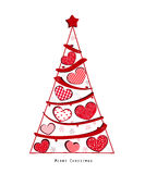 Christmas tree with valentine hearts and snowflakes vector. Illustration Stock Photo