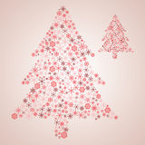 Christmas tree from various red snowflakes Royalty Free Stock Photo
