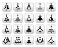Christmas tree - various types  buttons set Stock Photography