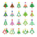 Christmas tree - various types  icons set Stock Photo