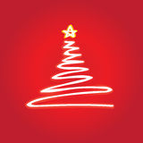 Christmas tree vector. White christmas tree  with a yellow star Stock Image