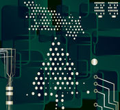 Christmas tree, vector. MOtherboard background with Christmas tree stock illustration