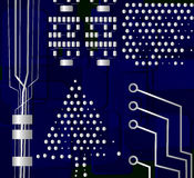 Christmas tree, vector. Motherboard background with Christmas tree Stock Image