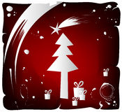 Christmas tree, vector. Grunge background with Christmas tree stock illustration