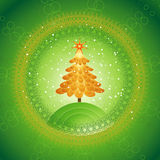 Christmas tree,vector. Christmas tree on the green background,vector illustration Stock Image