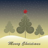Christmas Tree Vector. Christmas Tree with snow and blue sky Royalty Free Stock Images