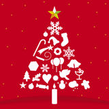 Christmas tree (vector). Christmas tree icon (vector). Red and white stock illustration