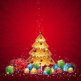 Christmas tree, vector. Illustration  with christmas tree and many gifts, vector illustration Stock Photography