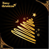 Christmas tree vector. Composition illustration over a decorative background Royalty Free Stock Photo