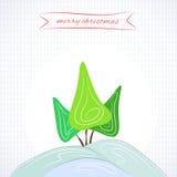 Christmas-tree. Vector Christmas background.Vector New Year card. Vector Merry Christmas background. Vector happy holiday card. Child Christmas card Stock Illustration