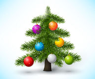 Christmas tree. Vector christmas tree with christmas balls  on white background Stock Images