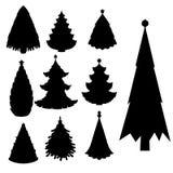 Christmas tree vector black silhouette star xmas gift design holiday celebration winter season party plant. Vector ball season decorative shiny festive bright Stock Images