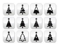Christmas tree vector buttons set stock illustration