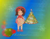 Christmas tree vector girl gift box child greeting Stock Images