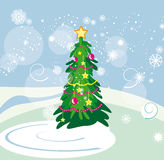 Christmas tree. Vector graphic card with nice winter landscape and christmas tree Stock Photography