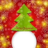 Christmas tree vector greeting card.  Stock Photos