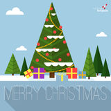 Christmas tree vector greeting card. Stock Image