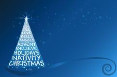Christmas tree vector greetings blue card Stock Image