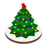 Christmas tree vector illustration. In isometric style. Isometric christmas tree with decoration balls. Christmas tree isolated against the white background Vector Illustration