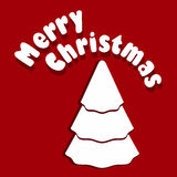 Christmas tree. Vector illustration of Christmass card with white Christmas tree on red background Royalty Free Stock Photos