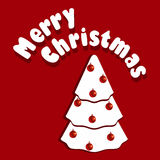 Christmas tree. Vector illustration of Christmass card with white Christmas tree on red background Stock Photo