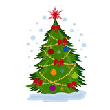 Christmas tree, vector illustration. Vector illustration of Christmas tree with decorations Stock Images