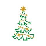 Christmas tree. Vector illustration. Christmas tree and Christmas decorations on it Stock Photos