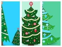 Christmas tree vector ornament star xmas gift brochure design holiday celebration winter season party plant. Vector ball season decorative shiny festive bright Stock Image