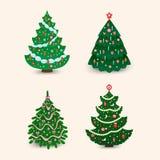 Christmas tree vector ornament star xmas gift design holiday celebration winter season party plant. Vector ball season decorative shiny festive bright card Stock Image