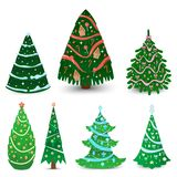 Christmas tree vector ornament star xmas gift design holiday celebration winter season party plant. Royalty Free Stock Images