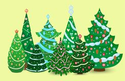 Christmas tree vector ornament star xmas gift design holiday celebration winter season party plant. Royalty Free Stock Image