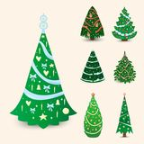 Christmas tree vector ornament star xmas gift design holiday celebration winter season party plant. Vector ball season decorative shiny festive bright card Royalty Free Stock Images