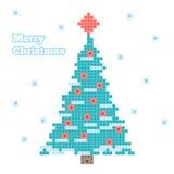 Christmas tree. Vector Christmas tree, pixel art stock illustration