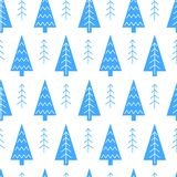 Christmas tree vector seamless pattern. Royalty Free Stock Images