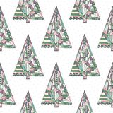 Christmas tree vector seamless pattern. Happy New Year background. Winter Xmas holidays texture for surface design. Christmas tree vector seamless pattern. Happy stock illustration