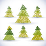 Christmas tree vector set, hand drawn lines textures vector illustration
