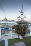 Christmas Tree on Ventura. A Christmas Tree on the upper deck of Ventura during a christmas cruise to the Canaries and Madeira Royalty Free Stock Photo